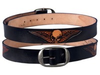 Skull with Wings Leather Belt